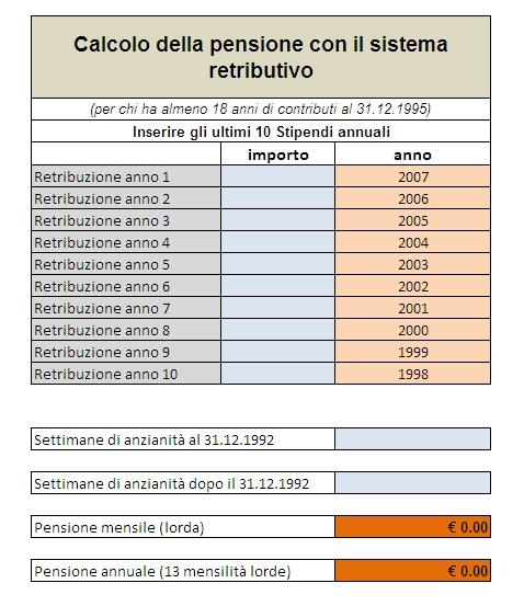 Programma per il calcolo della pensione con il sistema retributivo